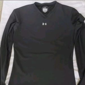 Under Armour Dri Fit Shirt BOYS Sz M Black Long S